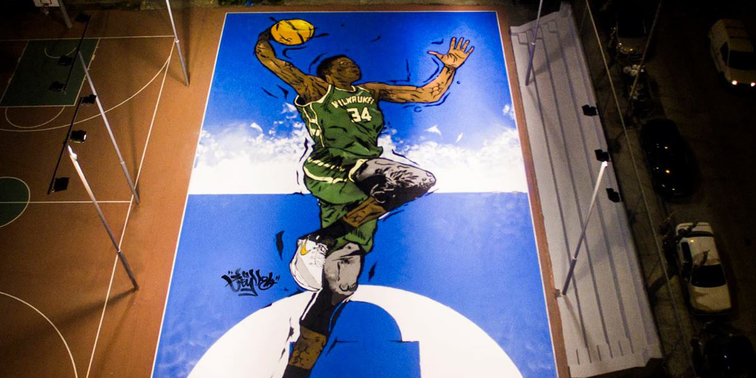 Giannis Antetokounmpo basketball court